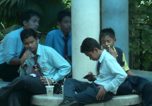 Malaysian boys feeling blue